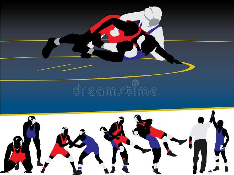 Wrestling Silhouette Vectors royalty free illustration