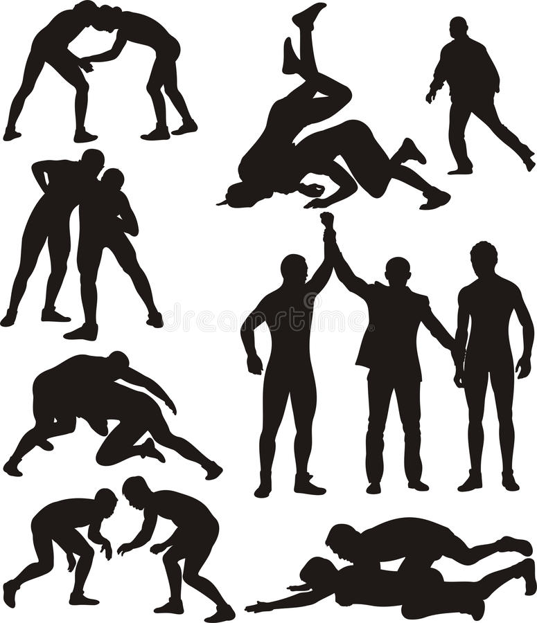 Wrestling silhouettes. Freestyle wrestling and greco-roman wrestling - competitive contact sport royalty free illustration