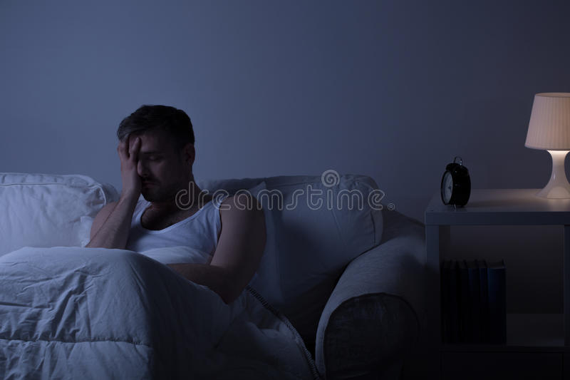 Wretched man suffering from depression royalty free stock images
