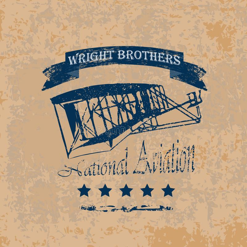 Wright_bro_label διανυσματική απεικόνιση