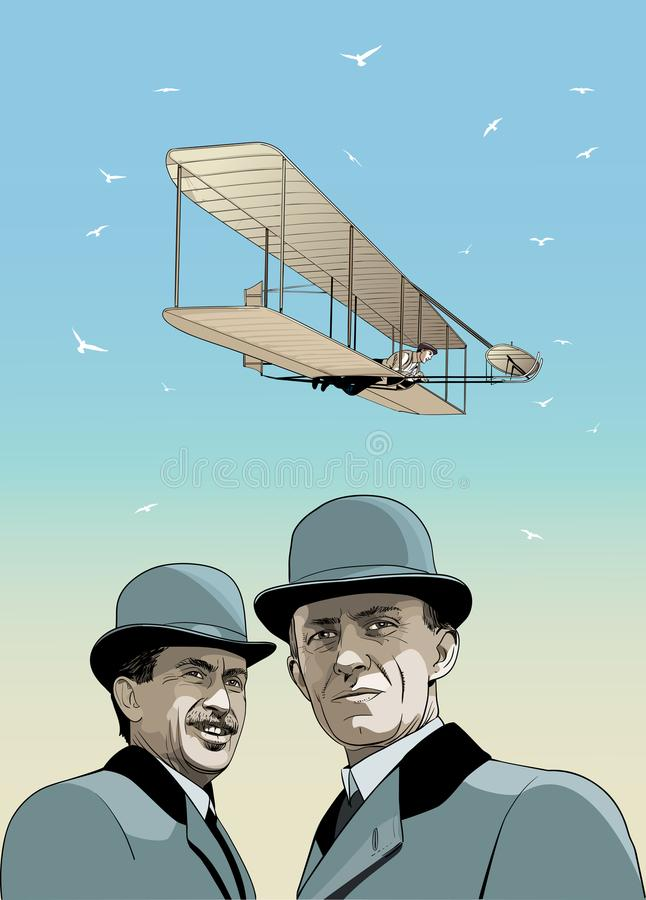 Free Wright Brothers Airplane, Line Art Vector Royalty Free Stock Photos - 115145728