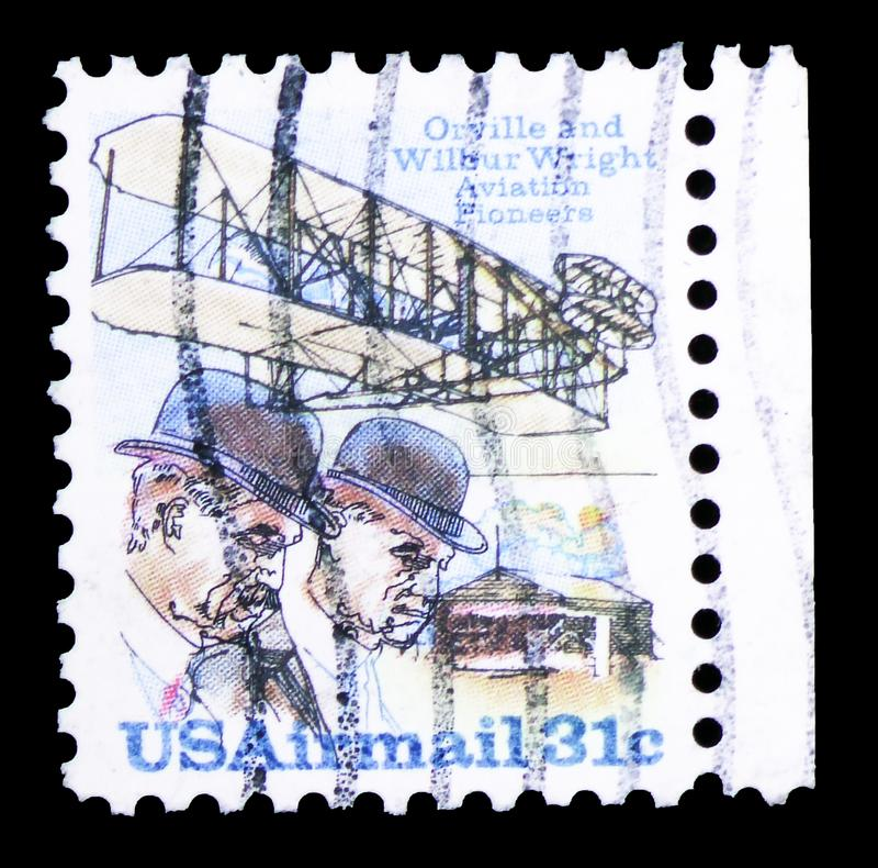 Wright Brothers, Flyer A and Shed, Wright Brothers Issue serie, circa 1978. MOSCOW, RUSSIA - FEBRUARY 10, 2019: A stamp printed in United States shows Wright stock photography