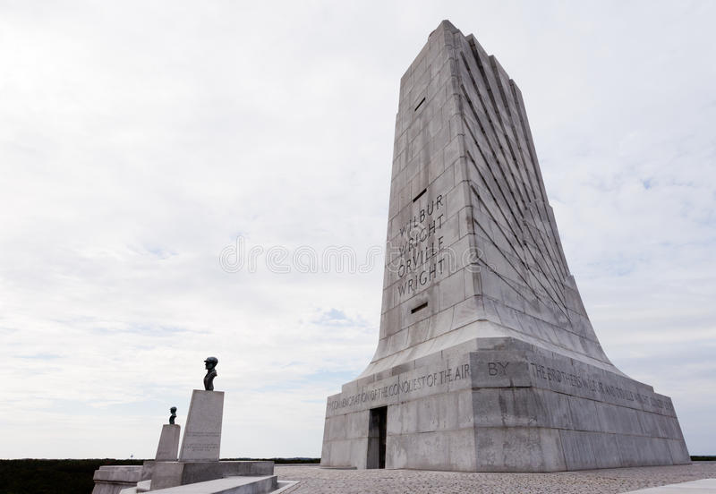 Wright Brothers Memorial Outer Banks OBX NC USA. Wilbur and Orville Wright Brothers National Memorial granite tower for first aviation flight in history, Kill stock images
