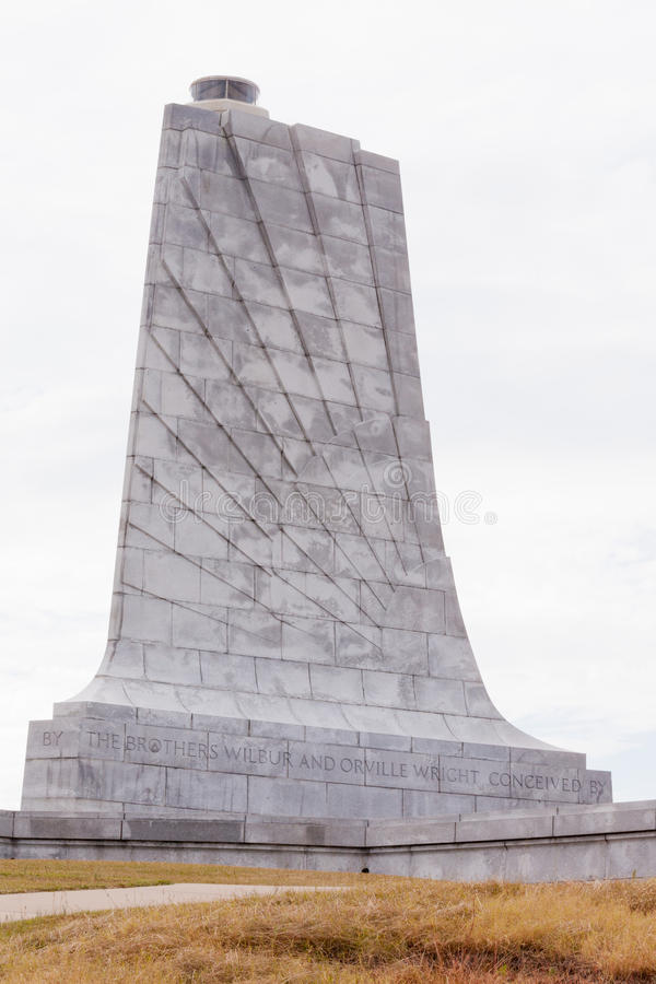 Wright Brothers Monument Outer Banks OBX NC USA. Wilbur and Orville Wright Brothers National Memorial granite tower for first aviation flight in history, Kill stock images
