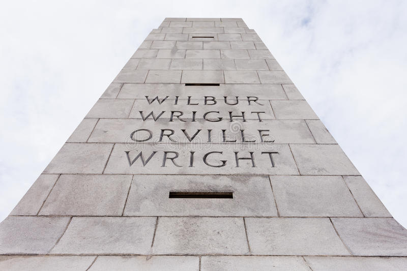 Wright Brothers National Memorial Outer Banks NC. Wilbur and Orville Wright Brothers National Memorial granite tower for first aviation flight in history, Kill royalty free stock images