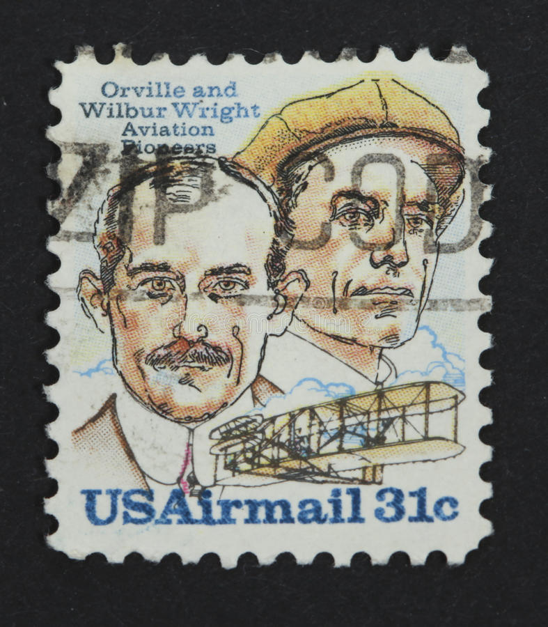 Wright brothers on a postage stamp royalty free stock images