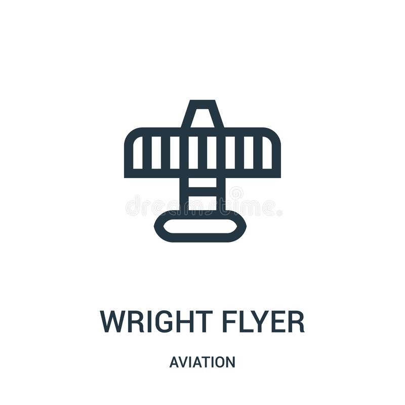 Wright flyer icon vector from aviation collection. Thin line wright flyer outline icon vector illustration. Linear symbol for use. On web and mobile apps, logo royalty free illustration