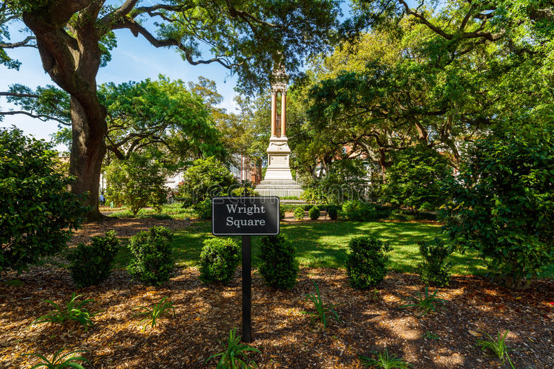 Wright Square Savannah. Wright Square Park in the historic district of Savannah, Georgia royalty free stock photography
