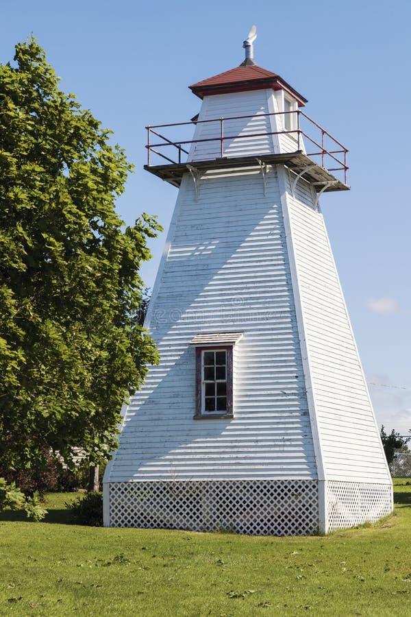Wrights-Strecken-Rückseiten-Leuchtturm auf Prinzen Edward Island lizenzfreie stockfotos