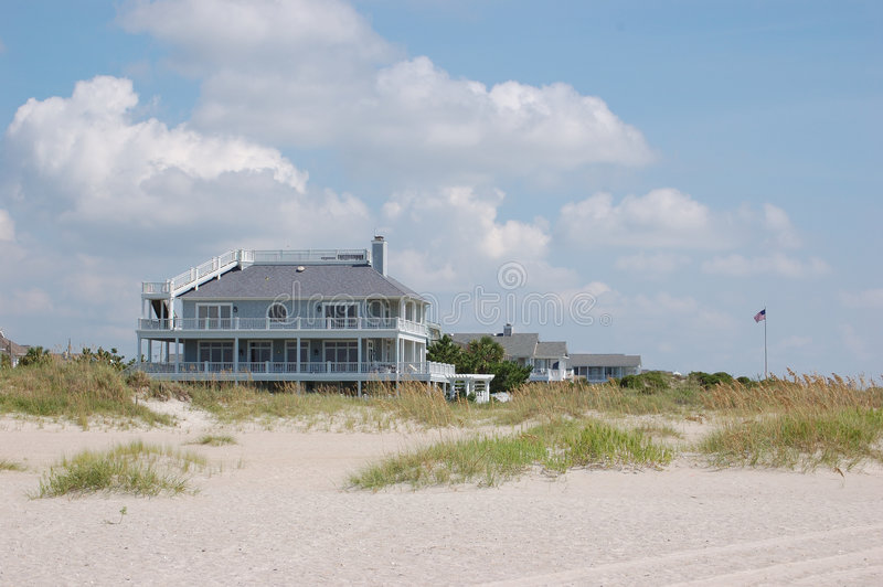 Wrightsville Beach Condo. A seafront condo with a widows walk just north of Masonboro Inlet on Wrightsville Beach North Carolina royalty free stock images