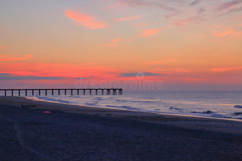 Wrightsville beach before sunrise. The dawn time with colorful sky in Wrightsville beach, NC stock photo