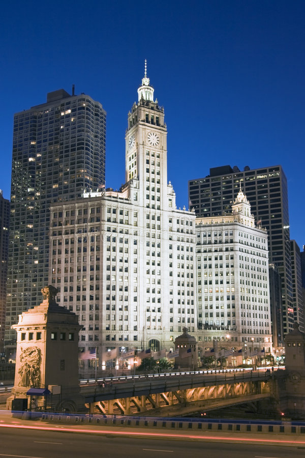 Wrigley Building by night royalty free stock image