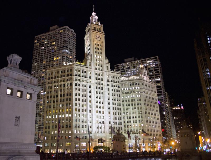 Wrigley byggnad, centrum, Chicago, Illinois royaltyfria foton