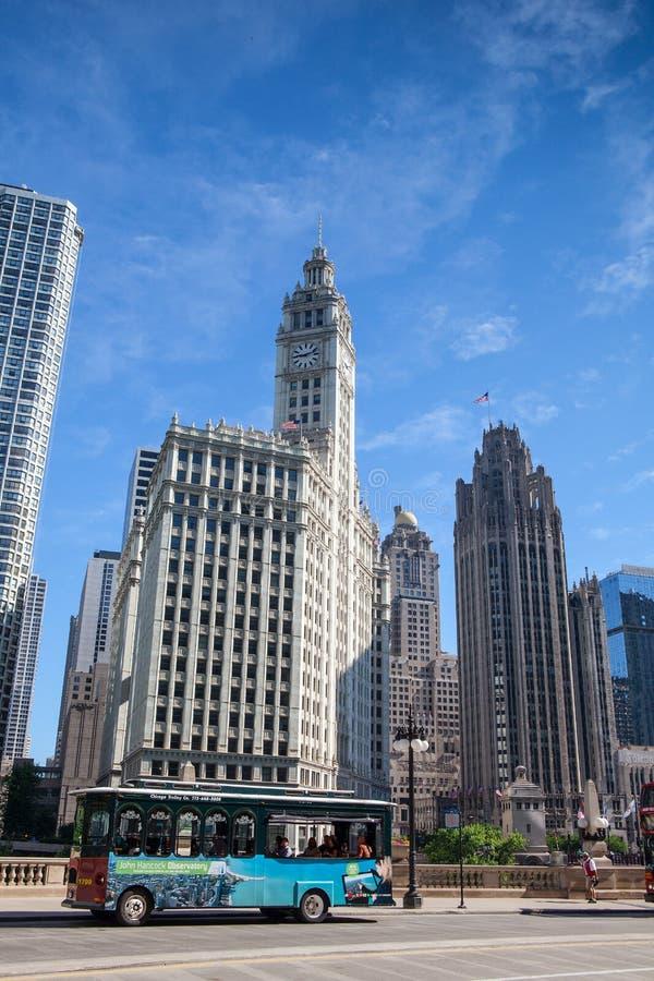 Wrigley byggnad i Chicago royaltyfria foton