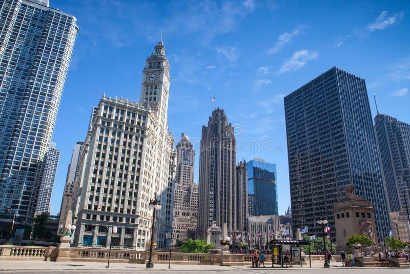 Wrigley byggnad i Chicago arkivbild