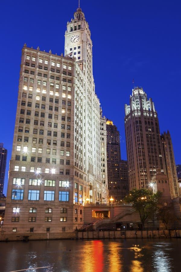 Wrigley die op het Ave van Michigan in Chicago in de V.S. voortbouwen stock afbeelding
