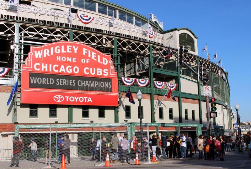 Wrigley sätter in, efter Chicago Cubsvärldsserier har segrat arkivbilder