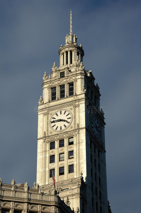 Download Wrigley's Building Tower Clock Stock Photo - Image: 12240272