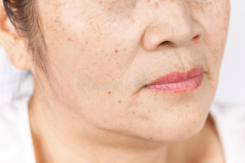 Close up skin wrinkle and freckles of old asian woman face royalty free stock photos