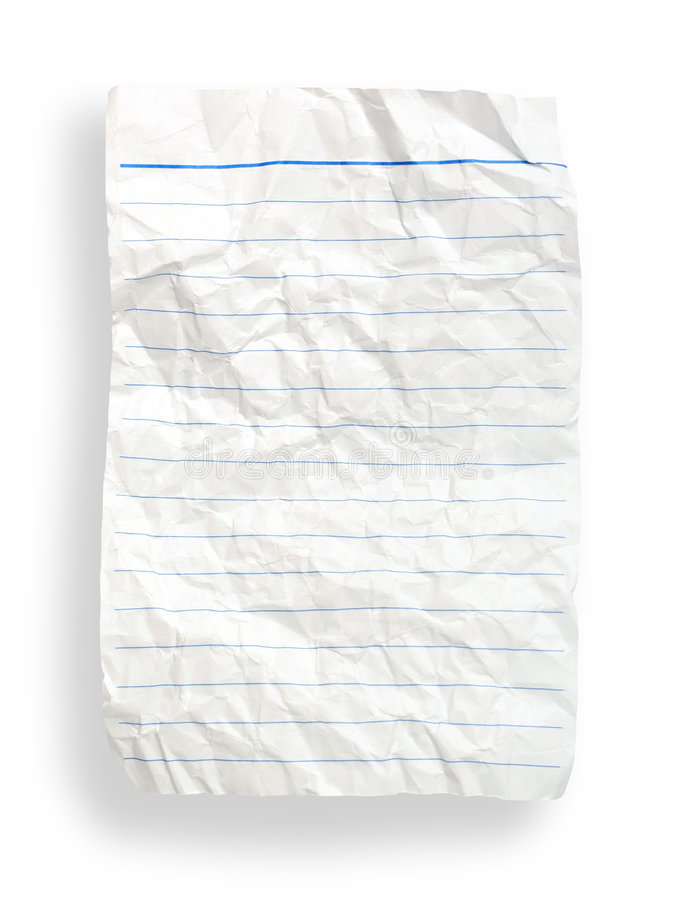 Download Wrinkle White Lined Paper(with Clipping Path) Stock Image - Image: 1715237