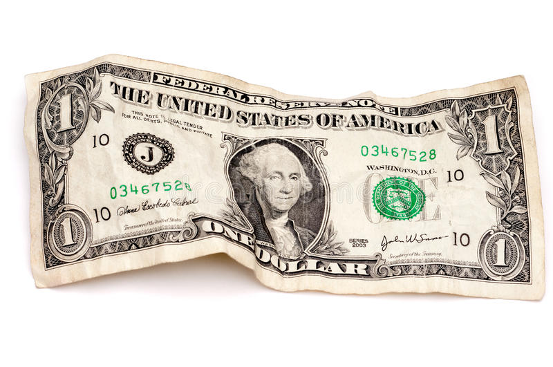 Download A Wrinkled American Dollar Bill Stock Photo - Image: 10638396