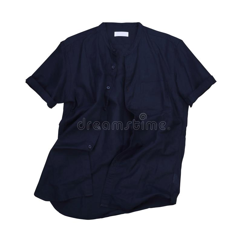 Isolated wrinkled blue navy casual shirt Mandarin collar royalty free stock photography