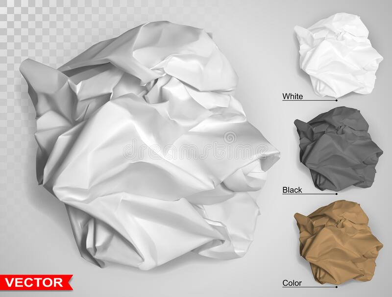 Wrinkled crumpled realistic carton paper ball. Wrinkled crumpled realistic empty brown, white and black carton paper ball texture. On gray background. Template stock illustration