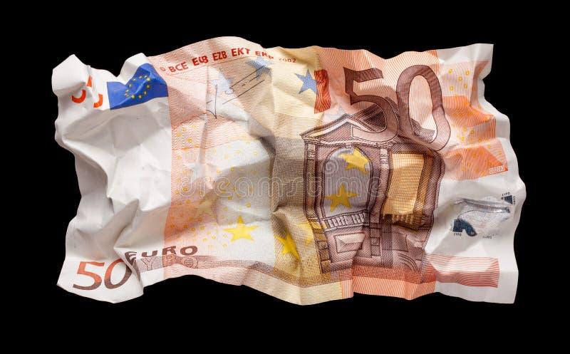 Wrinkled euro money royalty free stock photo