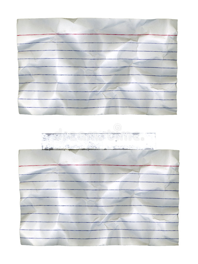 Wrinkled Index Cards. With and without taped royalty free illustration