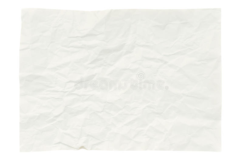 Wrinkled paper isolated on white stock photography