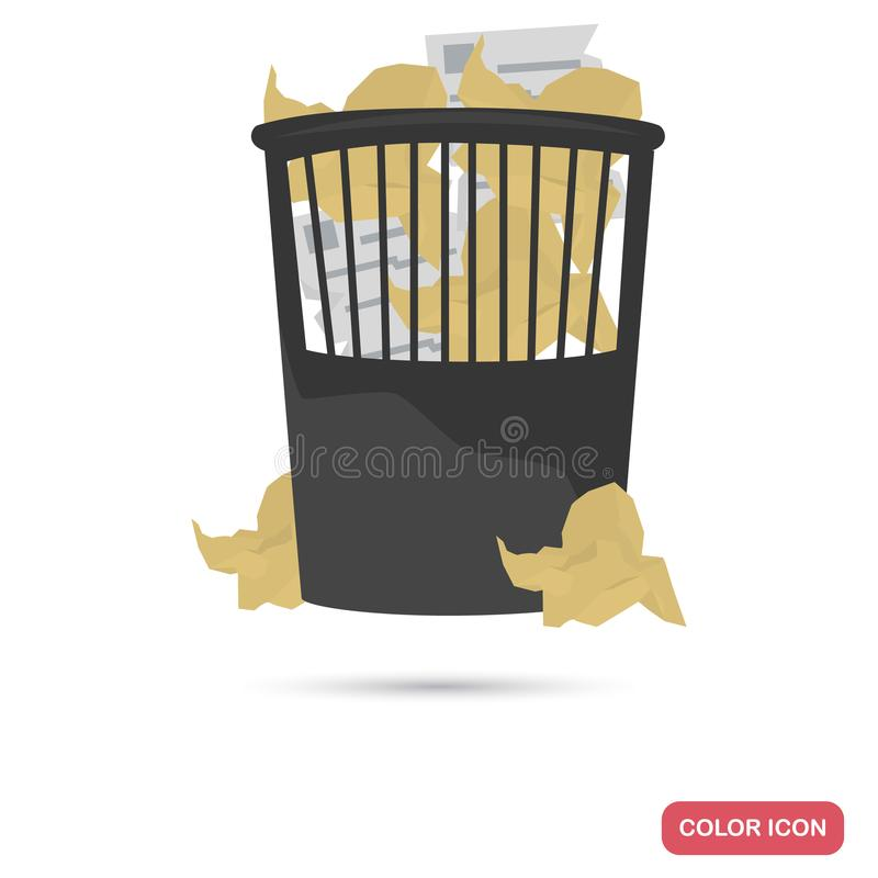 Wrinkled paper in the trash can color flat icon royalty free illustration