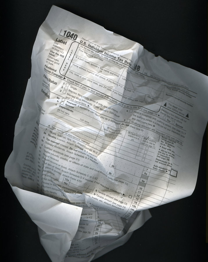 Wrinkled Tax Form royalty free stock photos