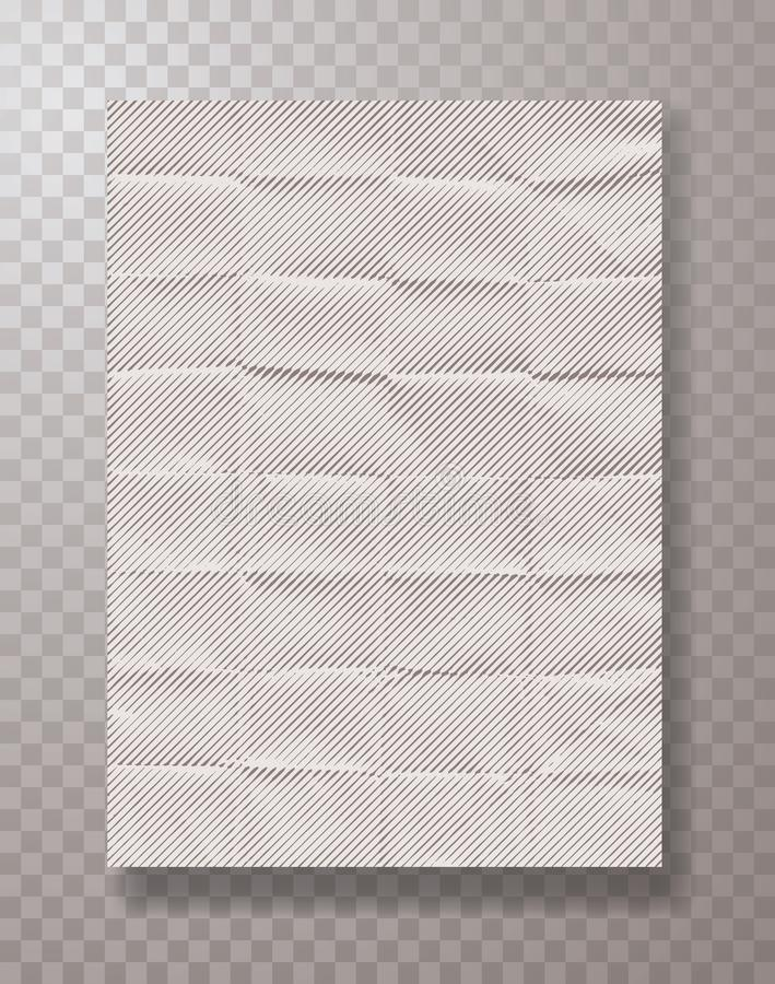 Line paper. Wrinkly empty white halftone paper sheet, frame mockup hanging with metal paper clips, vector background stock illustration