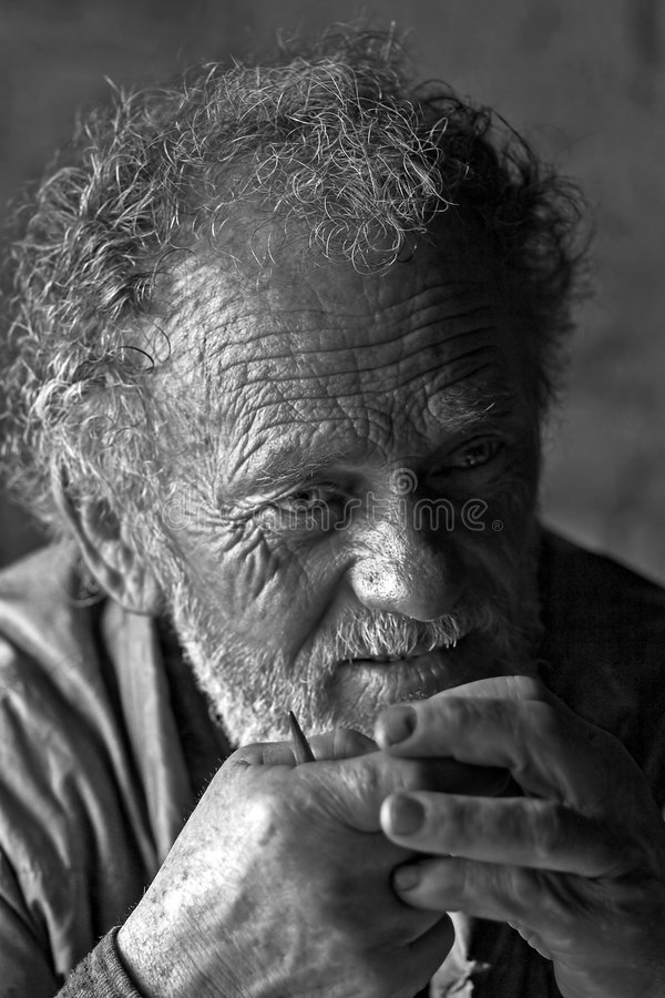 Wrinkly Mann lizenzfreie stockbilder