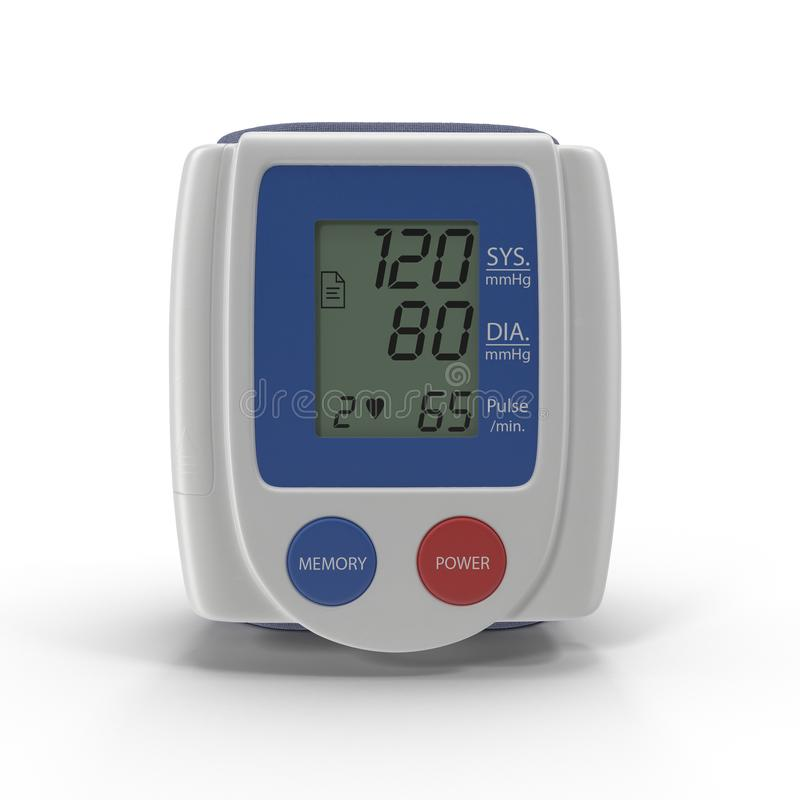 Wrist Blood Pressure Monitor Isolated On White Background. 3D Illustration stock image