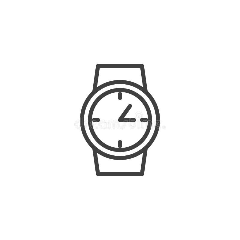 Wrist clock line icon royalty free illustration