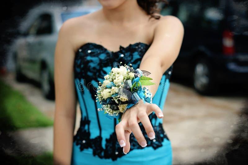 Wrist corsage stock image