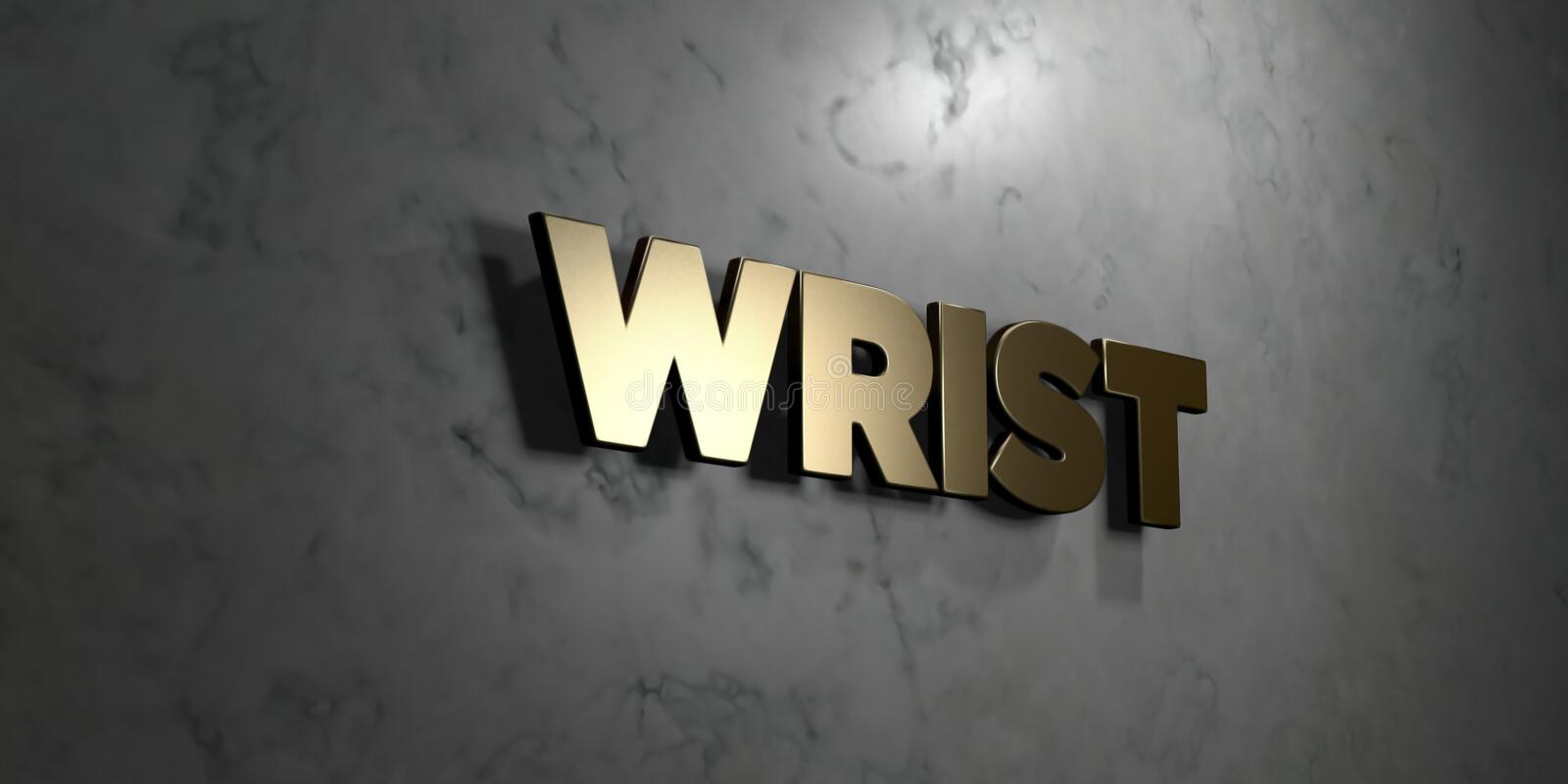 Wrist - Gold sign mounted on glossy marble wall - 3D rendered royalty free stock illustration royalty free illustration