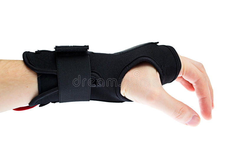 Wrist support with hand isolated royalty free stock photo