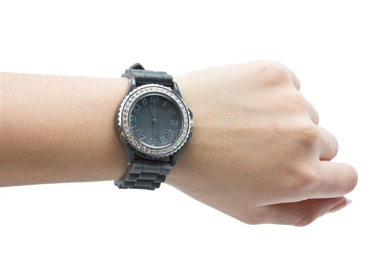 Wrist watch. Isolated wrist watch on a hand on a white background stock image