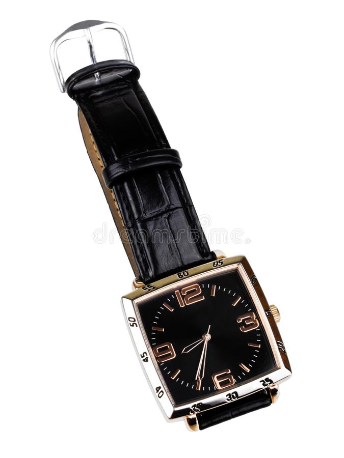 Wrist Watch. With leather wristlet isolated on white background royalty free stock images
