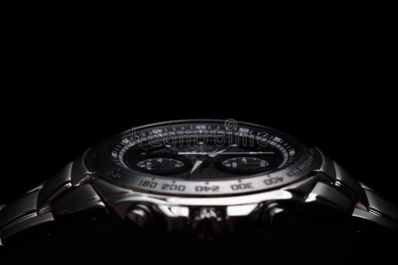 Wrist watch. On black background royalty free stock image