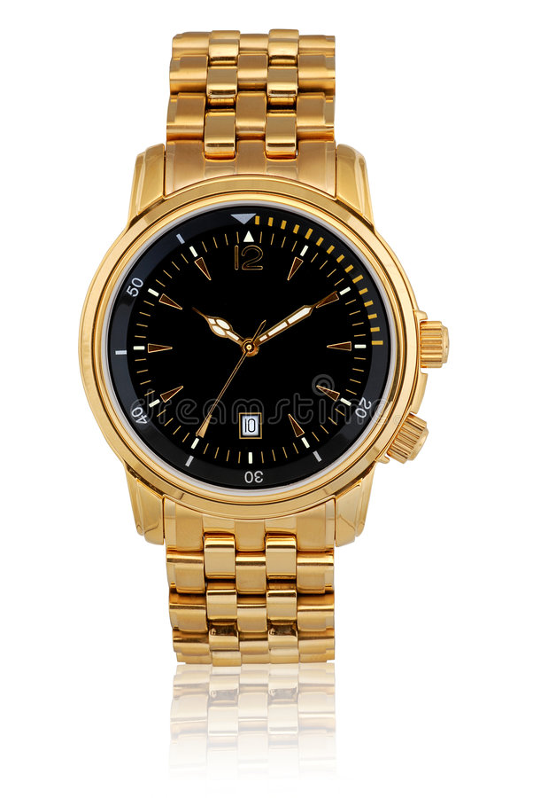 Wrist watch. Gold plated wrist watch with black dial royalty free stock images