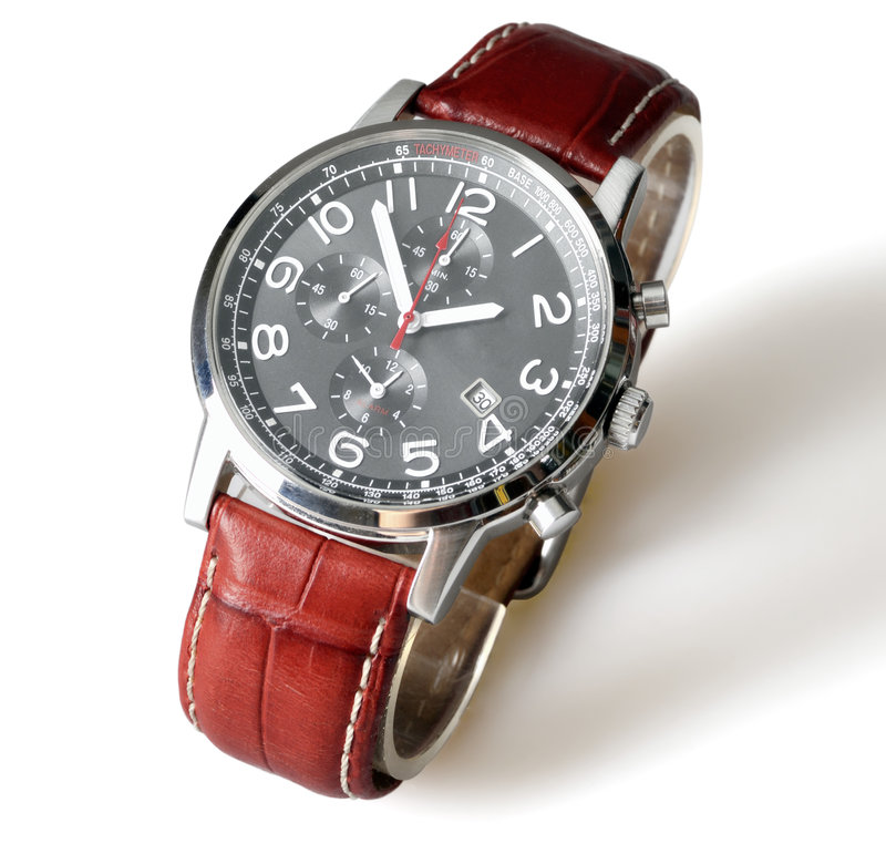 Wrist watch. Men's luxury wrist watch on white background stock photos