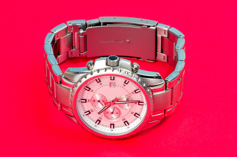 Wrist watch. Isolated on colored background stock images