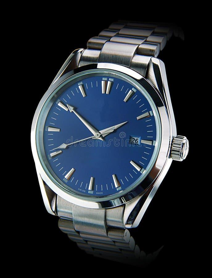 Wrist watch. On black background stock photography