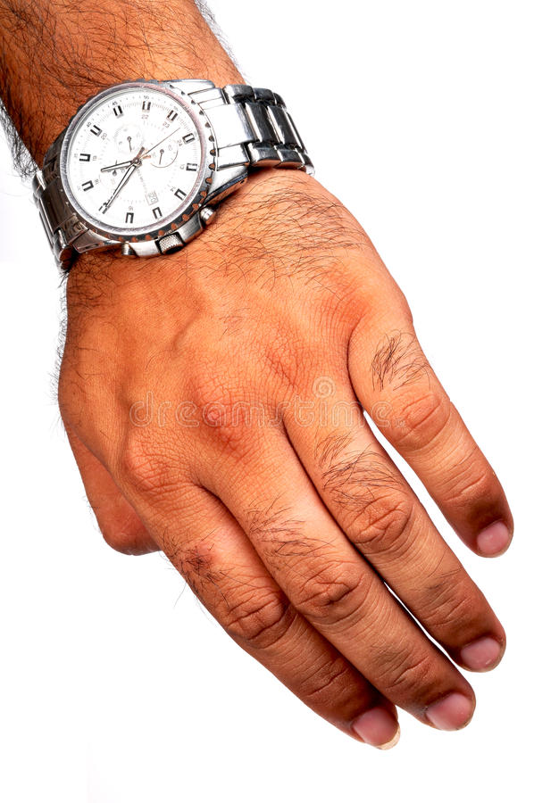 Wrist watch. On male wrist stock photo