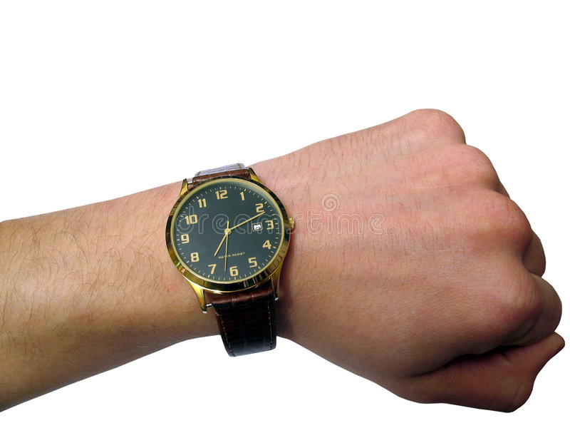 Wrist watch on hand isolated. Insulated, object over white, with absolutely white a background, for designer stock photography