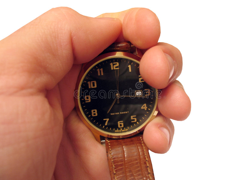 Wrist watch on hand isolated. Insulated, object over white, with absolutely white a background, for designer stock image