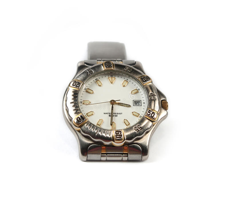 Wrist watch isolated. Chrome wrist watch isolated on white royalty free stock image